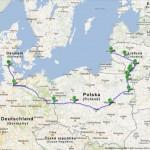 Kelionės maršrutas iš Klaipėdos į Danijos pasienio miestą Padborgą.